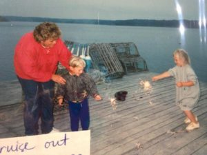 Josh his mother and sister playing on the wharf